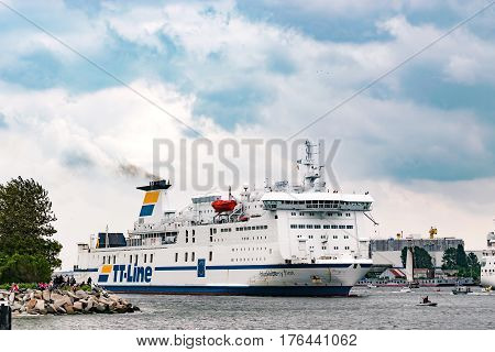 Rostock, Germany - August 2016: tt-line ferry in the harbour of Rostock
