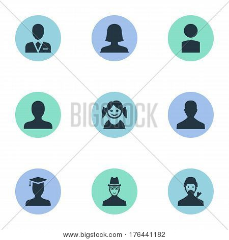Vector Illustration Set Of Simple Avatar Icons. Elements Little Girl, Spy, Mysterious Man And Other Synonyms Personal, Workman And Hat.