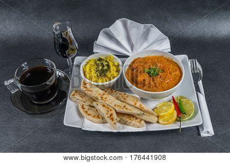 Oriental Indian Set, Chicken Tikka Masala, Naan Bread, White Plate, Black Coffee, Liqueur, Napkin, P