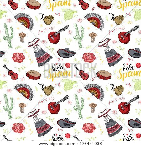 Spain seamless pattern doodle elements Hand drawn sketch spanish traditional guitars dress and music instruments map of spain and lettering - hola spain. vector illustration background.
