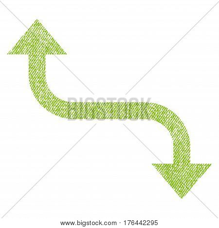 Opposite Bend Arrow vector textured icon for overlay watermark stamps. Fabric light green vectorized texture. Symbol with dirty design. Rubber seal stamp with fiber textile structure.