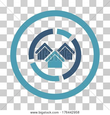 Realty Diagram icon. Vector illustration style is flat iconic bicolor symbol cyan and blue colors transparent background. Designed for web and software interfaces.
