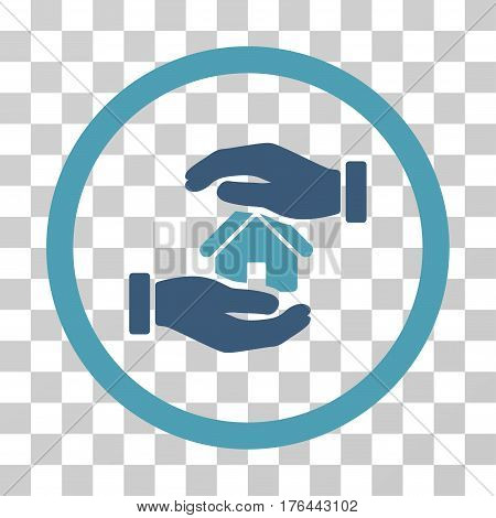 Realty Insurance Hands icon. Vector illustration style is flat iconic bicolor symbol cyan and blue colors transparent background. Designed for web and software interfaces.