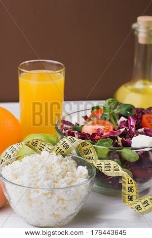 Healthy Food For Diet With Fresh Vegetables, Fruits And Porridge