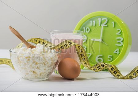 Dinner With Cottage Cheese, Egg And Yogurt