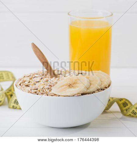 Uncooked Grain Of Oatmeal With Banana