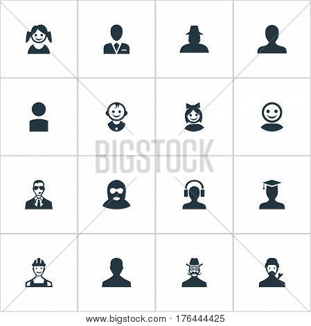 Vector Illustration Set Of Simple Member Icons. Elements Felon, Moustache Man, Little Girl And Other Synonyms Agent, Culprit And Small.
