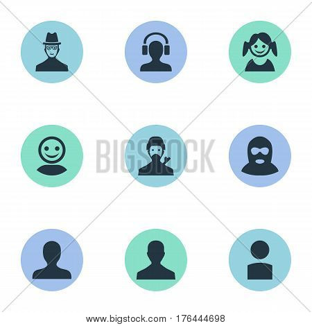 Vector Illustration Set Of Simple Human Icons. Elements Little Girl, Mysterious Man, Insider And Other Synonyms Culprit, Headphone And Profile.