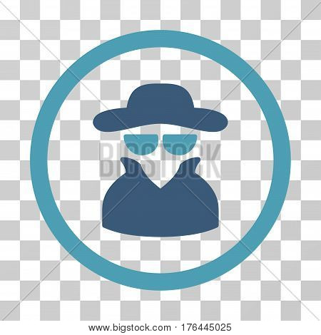 Spy icon. Vector illustration style is flat iconic bicolor symbol cyan and blue colors transparent background. Designed for web and software interfaces.