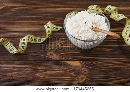 Fresh Cottage Cheese In A Glass Bowl
