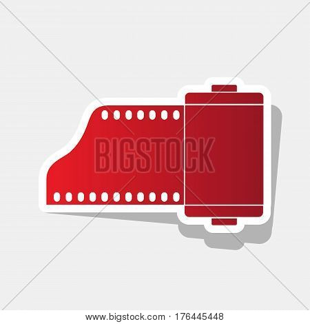 Foto camera casset sign. Vector. New year reddish icon with outside stroke and gray shadow on light gray background.