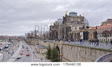 DresdenGermany-January 42017:View from Bruhl's terrace. Pedestrians and vehicles move in sight