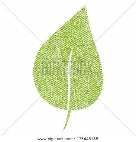 Plant Leaf vector textured icon for overlay watermark stamps. Fabric light green vectorized texture. Symbol with unclean design. Rubber seal stamp with fiber textile structure.