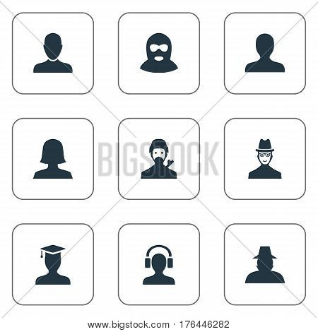 Vector Illustration Set Of Simple Avatar Icons. Elements Job Man, Male With Headphone, Postgraduate And Other Synonyms Student, Personal And Felon.