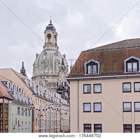 DresdenGermany-January 42017: Frauenkirche is a Lutheran church. It was erected on the orders of Augustus the Strong (1670-1733)