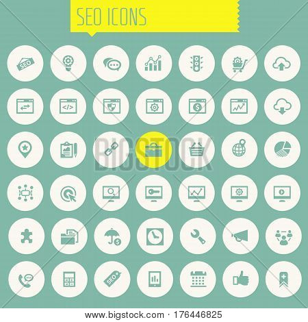 Trendy flat design big SEO icons set