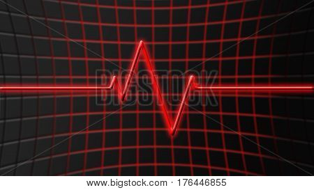 red glowing heartbeat recorded on an abstract futuristic glowing background