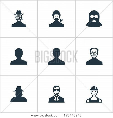 Vector Illustration Set Of Simple Member Icons. Elements Mysterious Man, Whiskers Man, Agent And Other Synonyms Offender, Security And Culprit.