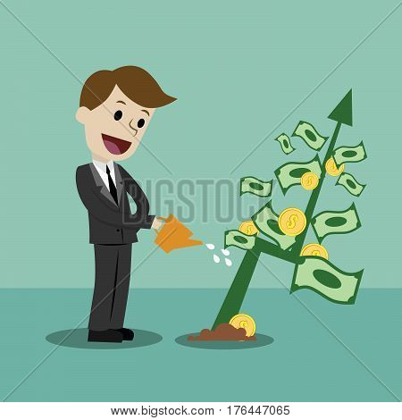 Businessman looking for growth chart , money and pointing finger to raise the graph get a lot of money. Chart growth and success concept. Cartoon Vector Illustration.