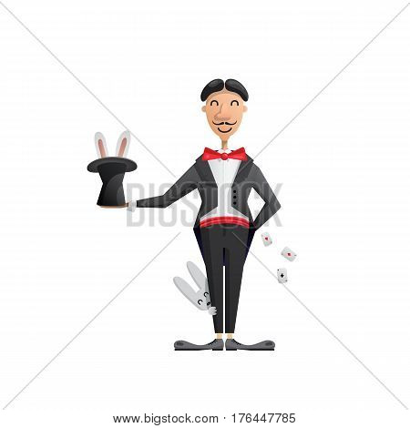 Vector illustration of a magician who shows the show with rabbit in the hat and playing cards, painted in flat cartoon style