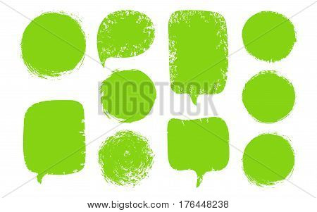 Vector Collection Of Green Speech Bubbles, Labels, Shapes Isolated On Black Background. Abstract Des