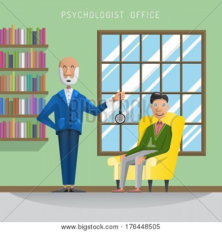 Flat vector illustration the psychologist enters the patient into hypnosis in my clinic, psychological assistance. The interior of the psychologist office