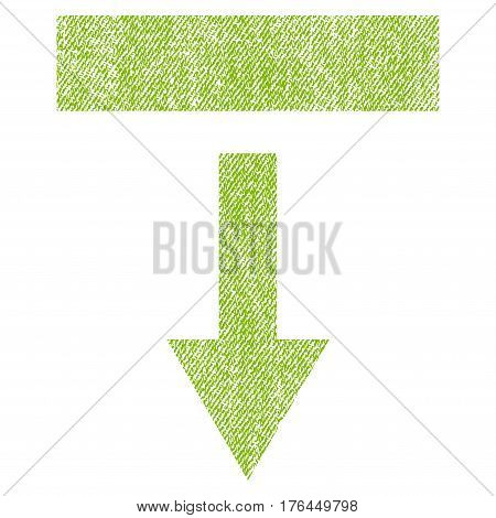 Pull Down vector textured icon for overlay watermark stamps. Fabric light green vectorized texture. Symbol with dust design. Rubber seal stamp with fiber textile structure.