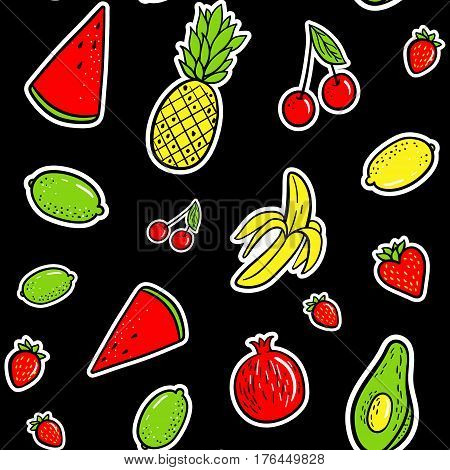 Hand Drawn Fashion Patches Tropical Fruits: Lemon, Avocado, Pineapple, Banana, Watermelon Seamless P