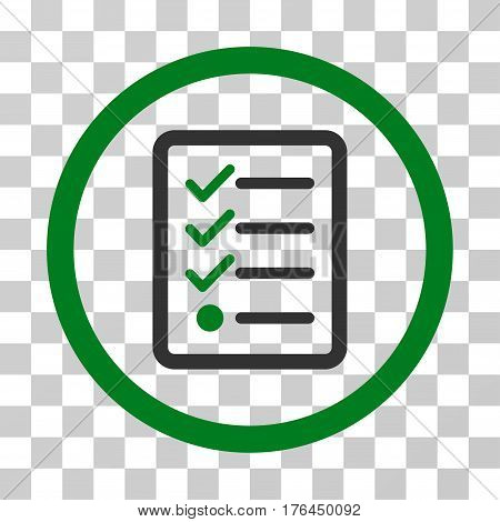 Checklist icon. Vector illustration style is flat iconic bicolor symbol green and gray colors transparent background. Designed for web and software interfaces.