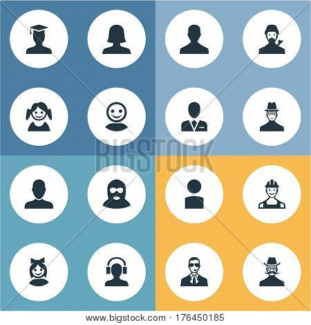 Vector Illustration Set Of Simple Member Icons. Elements Male With Headphone, Bodyguard, Felon And Other Synonyms Hat, Worker And Web.
