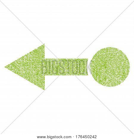 Pull Left vector textured icon for overlay watermark stamps. Fabric light green vectorized texture. Symbol with dirty design. Rubber seal stamp with fiber textile structure.