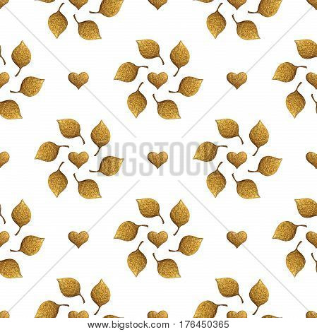 Leaves and hearts pattern. Gold hand painted seamless background. Abstract leaf illustration.