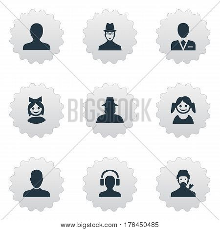 Vector Illustration Set Of Simple Member Icons. Elements Mysterious Man, Job Man, Agent And Other Synonyms Small, Inspector And Workman.