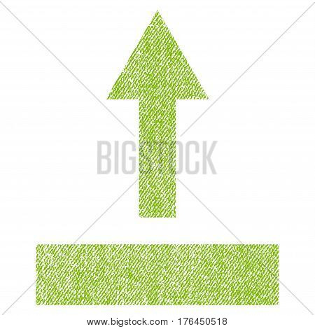 Pull Up vector textured icon for overlay watermark stamps. Fabric light green vectorized texture. Symbol with dust design. Rubber seal stamp with fiber textile structure.
