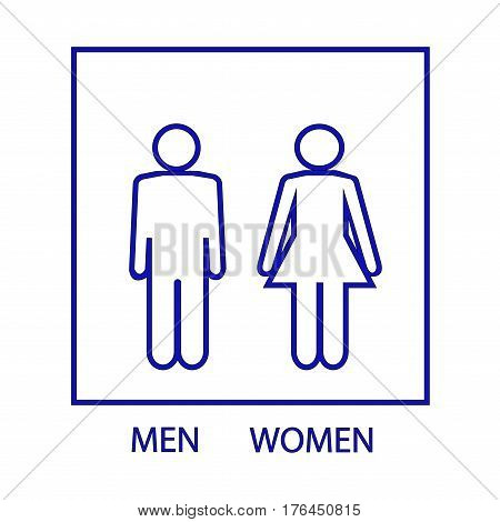 Blue silhouette men and women icon in blue square. Sign restroom women and men. Icon public toilette and bathroom for hygiene. Template for postersign. Flat vector image. Vector illustration