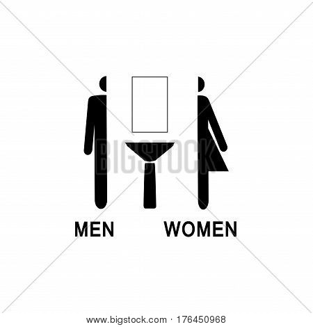 WC sign. Black silhouette men and womenon white background. Mark restroom women and men. Icon public toilette and bathroom for hygiene. Template for poster. Flat vector image. Vector illustration