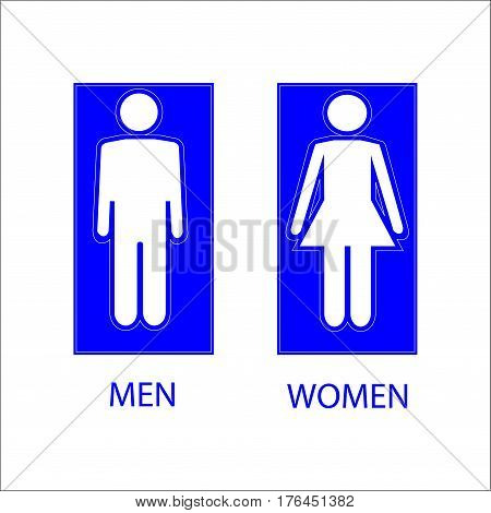 WC sign. Blue silhouette men and women icon in blue square. Mark restroom women and men. Icon public toilette and bathroom for hygiene. Template for postersign. Flat vector image. Vector illustration