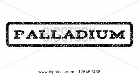 Palladium watermark stamp. Text caption inside rounded rectangle with grunge design style. Rubber seal stamp with scratched texture. Vector black ink imprint on a white background.