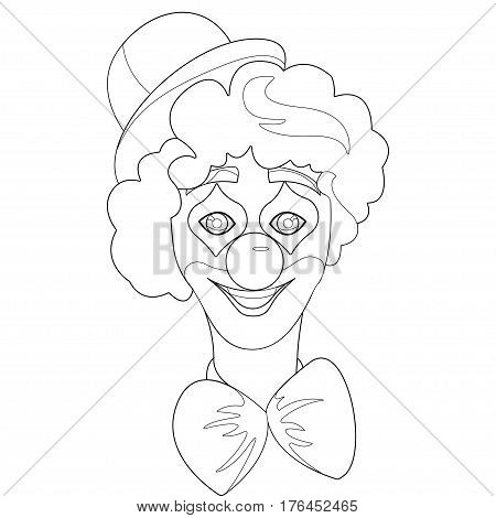 Circus Clown Artist In Classic Outfit With Red Nose And Make Up. Outline element for coloring book. vector illustration