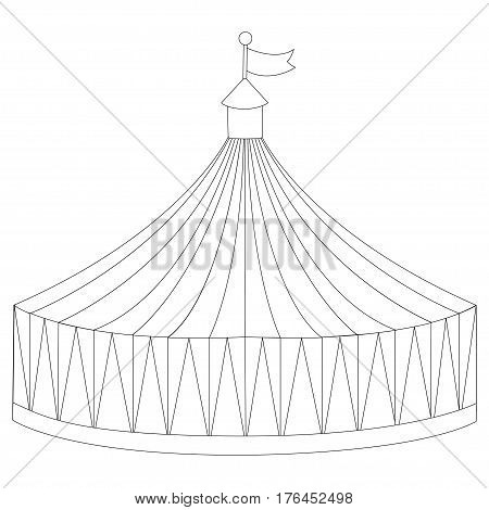 Outline element for coloring book. Illustration circus stripe tent isolated on white background - vector illustration