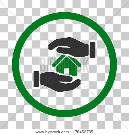 Realty Insurance Hands icon. Vector illustration style is flat iconic bicolor symbol green and gray colors transparent background. Designed for web and software interfaces.