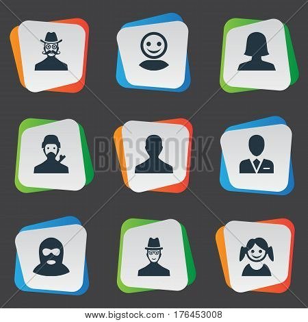 Vector Illustration Set Of Simple Avatar Icons. Elements Male User, Workman, Internet Profile And Other Synonyms Felon, Culprit And Female.
