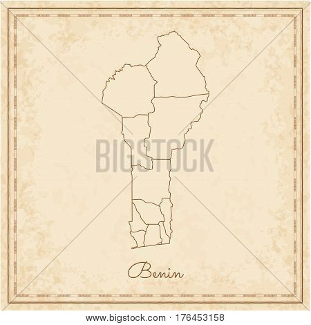 Benin Region Map: Stilyzed Old Pirate Parchment Imitation. Detailed Map Of Benin Regions. Vector Ill