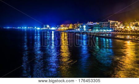 view of Sperlonga by night a coastal town in the province of Latina Italy