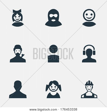 Vector Illustration Set Of Simple Member Icons. Elements Mysterious Man, Girl Face, Felon And Other Synonyms Web, Profile And Face.