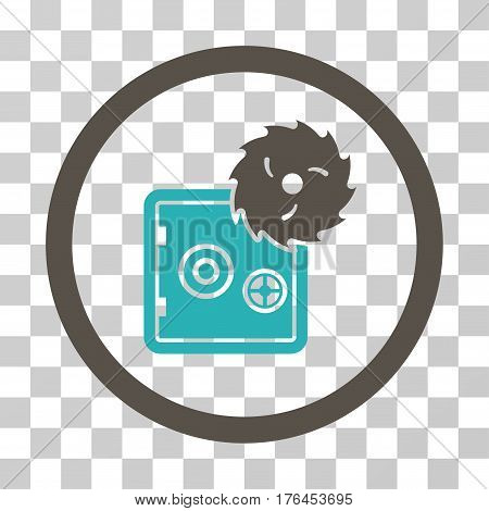 Break Safe icon. Vector illustration style is flat iconic bicolor symbol grey and cyan colors transparent background. Designed for web and software interfaces.