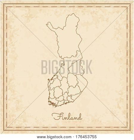 Finland Region Map: Stilyzed Old Pirate Parchment Imitation. Detailed Map Of Finland Regions. Vector