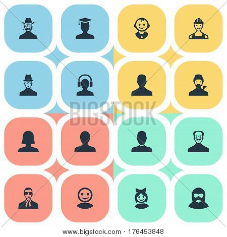 Vector Illustration Set Of Simple Member Icons. Elements Postgraduate, Male With Headphone, Whiskers Man And Other Synonyms Worker, Felon And Girl.