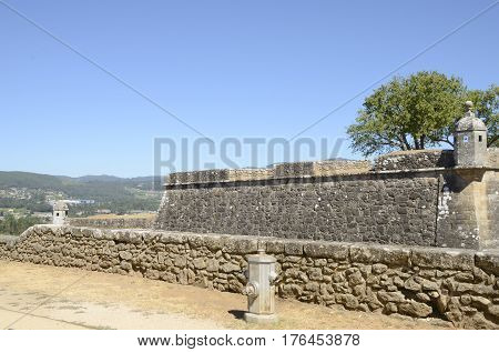 Watchtower and walls of the fortress of Valenca do Minho in Portugal.