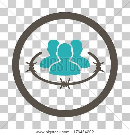 Concentration Camp icon. Vector illustration style is flat iconic bicolor symbol grey and cyan colors transparent background. Designed for web and software interfaces.